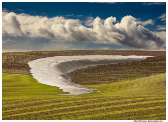 Palouse Snow Melt and Sky, Washington State, 2017