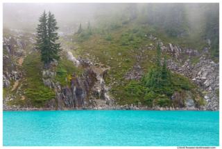 Foggy Shore of Jade Lake, Snoqualmie Region, Washington