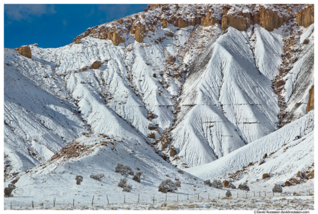 Snowy Cliff and Fenceline, Castle Dale, Central Utah, Winter 2014