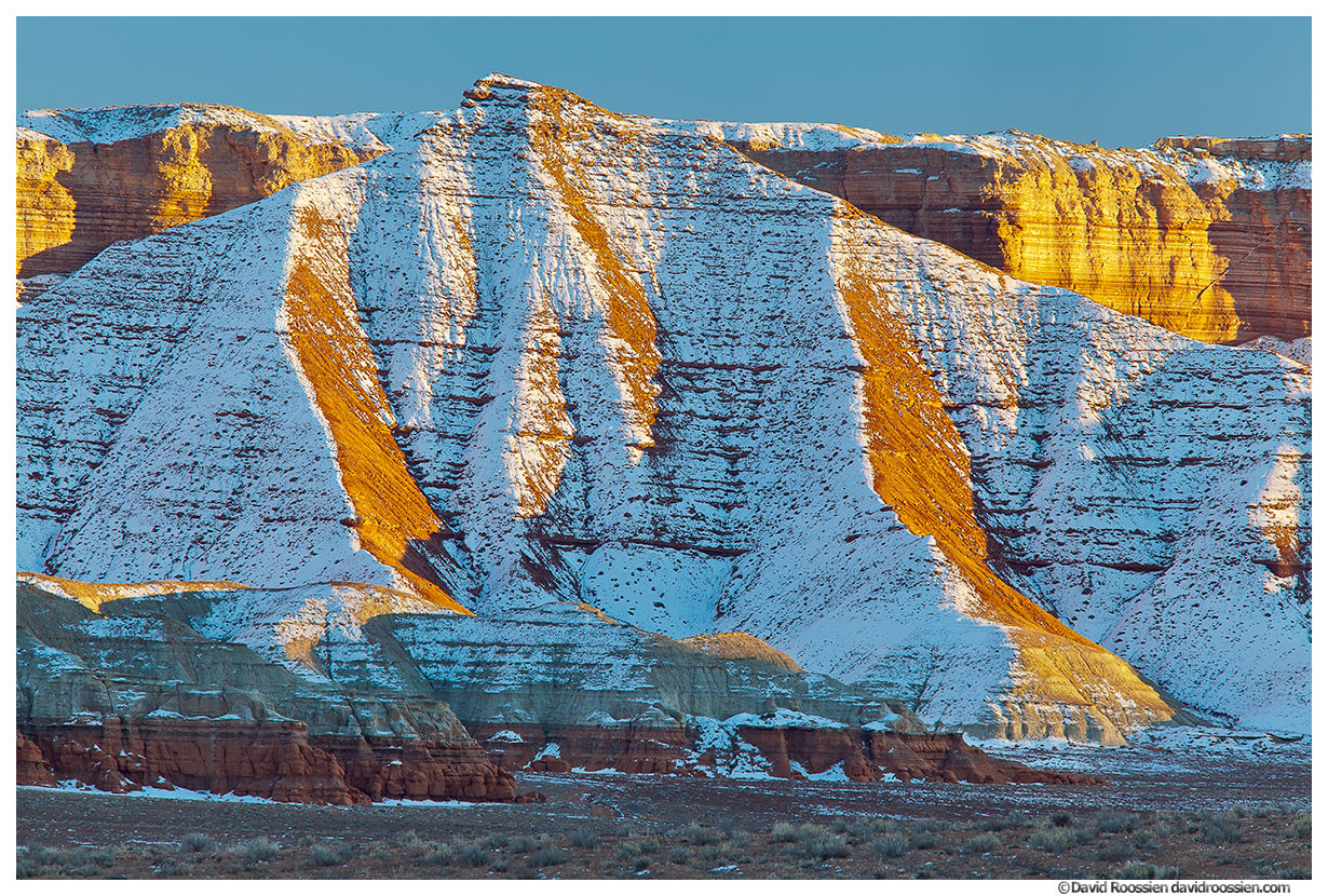 Snow Dusted Cliffs, Near Goblin Valley, San Rafael Swell, Utah, Winter 2014