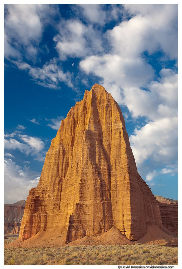 Moonrise Over Temple Of The Sun, Capitol Reef National Park, Utah, Spring 2014