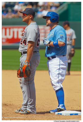 Miguel Cabrera and Billy Butler at Kauffman Stadium, Kansas City, Missouri