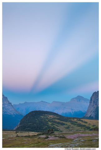 Afterglow, Logan Pass, Trickle. Glacier National Park, Montana