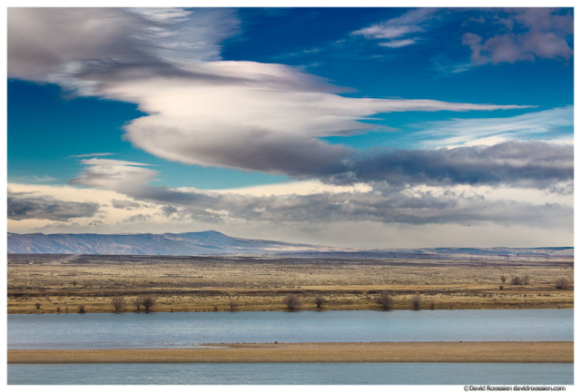 Lenticular Clouds and Winter Storm Over Central Cascades, Columbia River, Hanford Reach, Washington State