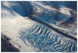 Open Crevasse, Carbon Glacier From Burroughs Mountain, Mount Rainier National Park, Washington State