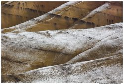 Snow Dusted Closeup, Painted Hills of Oregon